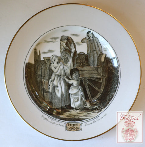 Black Transferware Plate Cries of London Fresh Gathered Peas Young Hastings