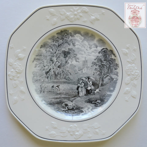 Antique Gathering Hay English Country Transferware Black Square Plate Embossed Floral Border