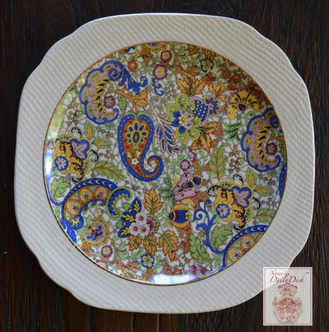 Vintage English Paisley Chintz Square Plate w/ Embossed Basket Weave Border