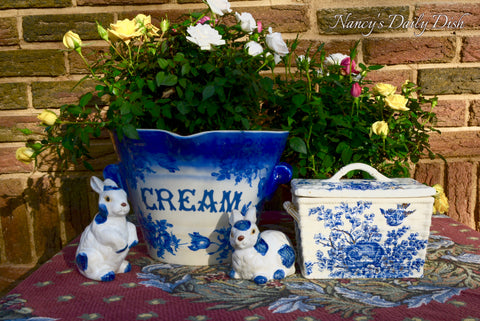 Vintage Flow Blue Grocers / Dairy Supply Advertising English CREAM Pail Bucket w/ Roses