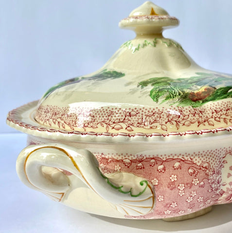 RARE Pink English Transferware Covered Dish / Tureen Royal Doulton Chatham Pink / Red and Black Two Color Transferware