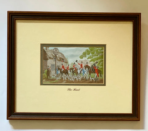 "Vintage The Red Fox - English Hunting Scene ""The Hunt"" in Woven Silk - Dbl Matted & Framed"