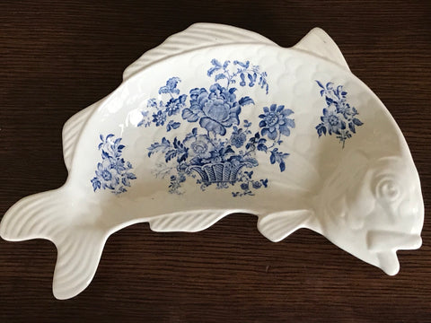Blue Transferware Figural Fish Shaped Platter Tray  Charlotte Staffordshire