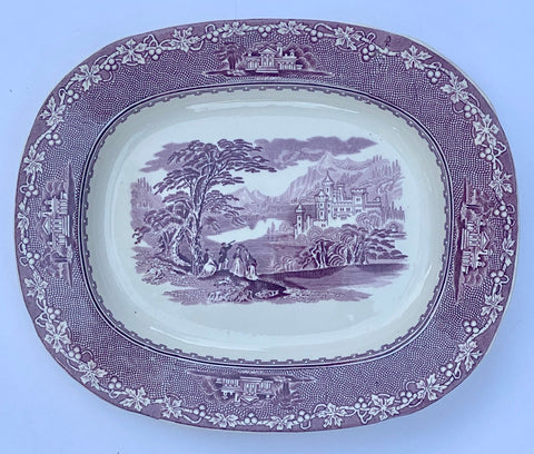 Royal Staffordshire Purple Transferware Platter Jenny Lind Mountain Scenes