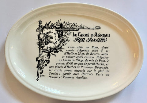Black Transferware Platter Lamb Le Carré D'Agneau Rôti Persillé French Advertising