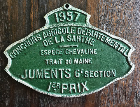 Vintage Equestrian GREEN French Country Juments Trait du Maine Horse 1 PRIX Award Plaque 1957