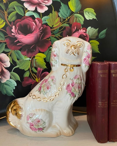 Vintage Pink & Cream Shabby Roses Chintz English Staffordshire Spaniel Dog Figurine