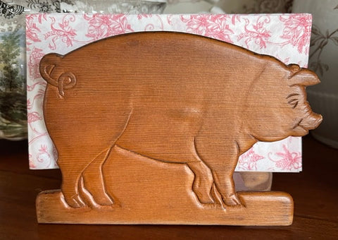 Vintage Carved Wooden Wood Pig / Hog Napkin or Letter Holder
