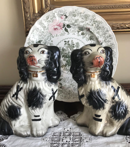 Pair Medium Black & White Staffordshire Spaniel Dog Figurines - English Country Decor