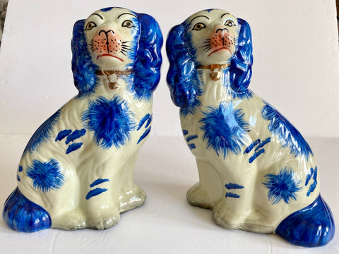 Pair Lg  Bright Blue Spotted Staffordshire Spaniel Dog Figurines King Charles