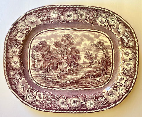 Purple Transferware Rural Platter Chickens Farm Cottage Vintage Transferware Platter - Farmhouse Kitchen Decor