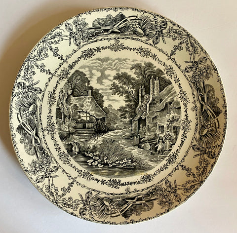Black Transferware Platter Charger Tray Rural Scenes Thatched Cottage Mother Children Bee Skep