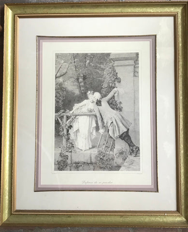 Large Romantic Triple Matted Framed Antique French Etching Defense De Se Pencher
