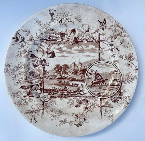 Anglais 1883 Brown Transfer Plate Aesthetic Cows Flowers Hunt Scene