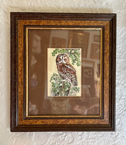Vintage Tawny Owl w/ Oak Leaves & Ivy in English Woven Silk - Matted & Framed