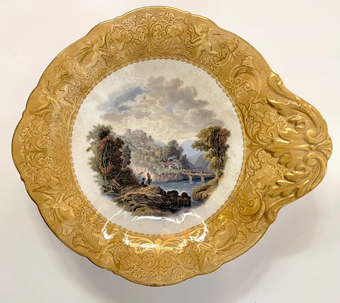 1850's Landscape Fishing Scene Prattware MultiColor Yellow Transferware Footed Compote Serving Stand Cherubs Border