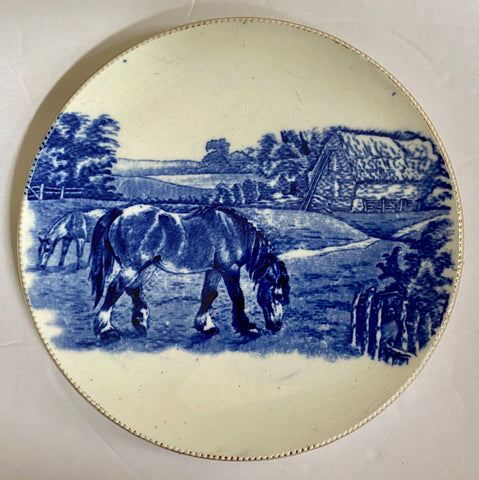 Antique Arthur Wood Blue Transferware Teapot Trivet / Hot Plate Horses