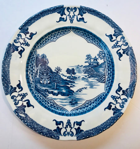 Chinoiserie Plate Blue & White Willow Plate Mandarin Pagoda Transferware