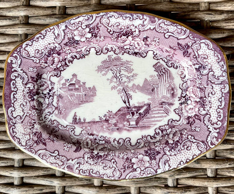 Rare Bishop & Stonier Athena Purple Transferware Small Tray Platter Scrolls Roses