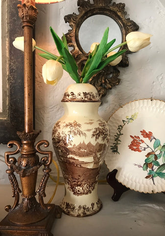 Antique English Transferware Wilkinson Crownford Lamp Vase Cottage Scene