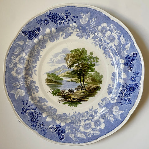 RARE Light Blue Staffordshire FOUR Color Transferware Enoch Wood Butterfly Border Plate 1830