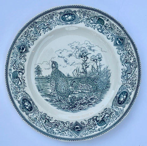 Dark Teal Blue Transferware Plate Masons Game Birds Common Partridge