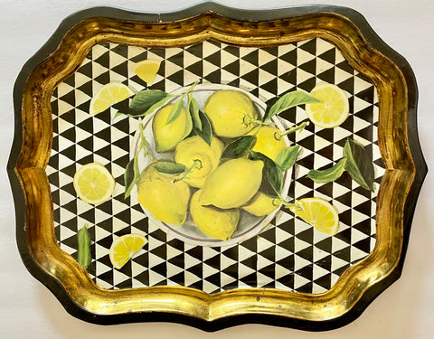 Vintage Bowl of Lemons Toleware Tray London England