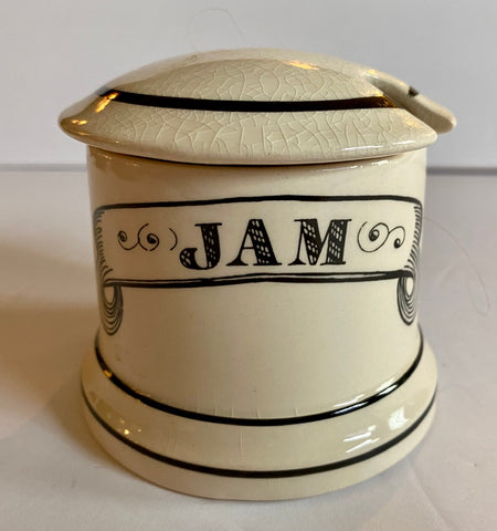 Vintage English Black Transferware  Advertising Jar Jam Preserves Pot