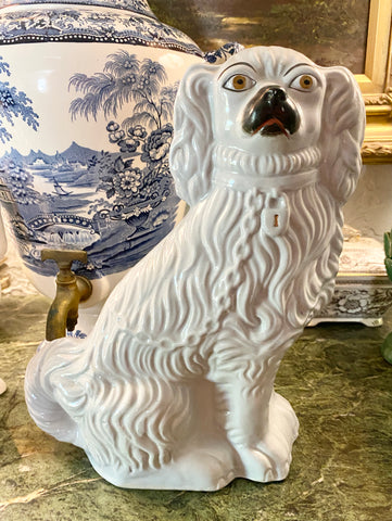 "12"" Pearlware Early Antique English Victorian Staffordshire Spaniel Dog Figurine"