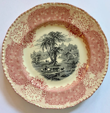 "8"" Cows & Goats English Victorian Pink / Red & Black Bi Color Transferware Scenic Plate Royal Doulton Chatham"