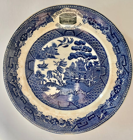 Antique Blue Willow English Transferware Advertising Dish Plate Ye Olde Cheshire Cheese Stone China