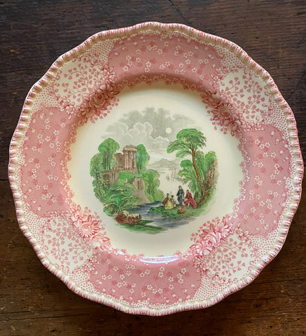 Antique English Polychrome Pink / Red Transferware Scenic Plate Royal Doulton Chatham 9""