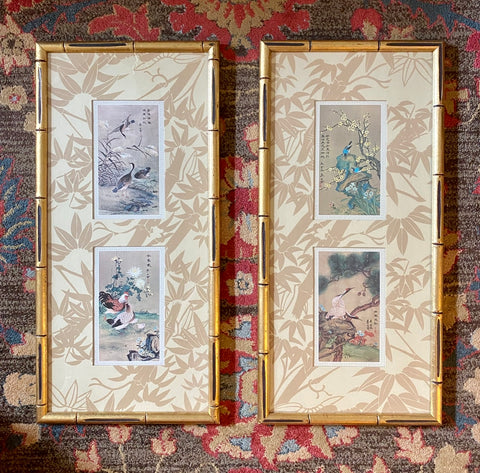 Pair of Chinoiserie Bird Prints Matted & Bamboo Framed w/ Bamboo Toile Mat