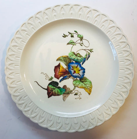 Vntg Morning Glory Transferware Plate Creamware Embossed Border Spode Copeland