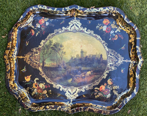 Stunning Vintage Tole Tray Windsor Castle Frogmore House Cows Butterflies Roses Queen Mary