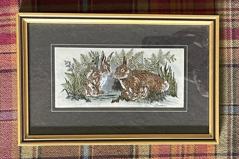 Vintage English Woven Bunny Rabbit Family Matted & Gold Frame