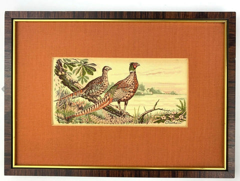 Vintage English Woven Silk Ring Neck Pheasants Linen Mat & Frame
