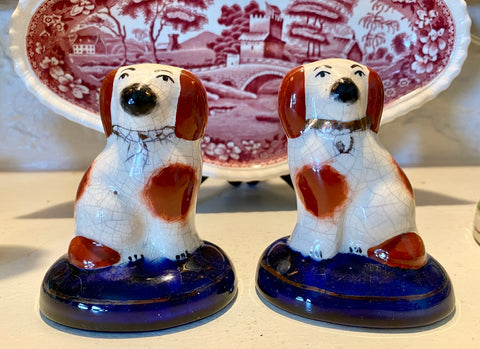 small Pair kent English Staffordshire Spaniel Wally Dog figurines on Cobalt Bases