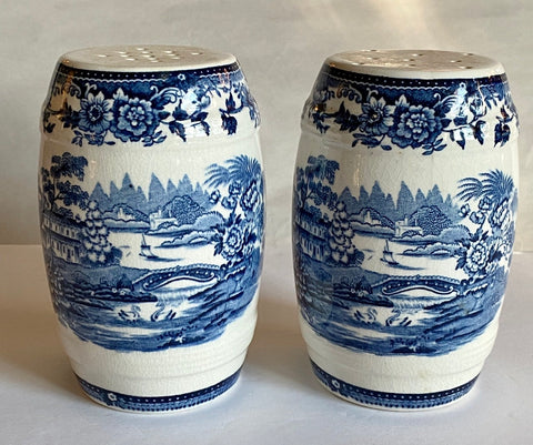 Blue Transferware Salt & Pepper Barrel Shakers Tonquin