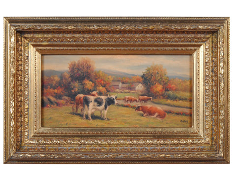Grazing Cows Cattle in Pond Oil Painting Framed Ornate Gilded / Gold Frame