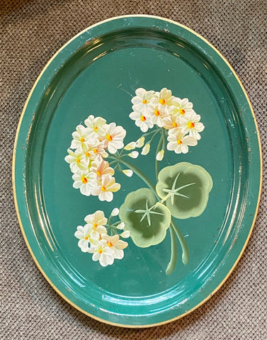 Hand Painted Geraniums Oval Vintage Green Tole Tray Toleware