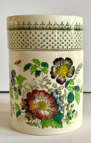 #1 Green Transferware Canister Masons Paynsley Pansies Fleur De Lis Floral
