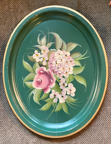 Hand Painted Hydrangeas & Roses Oval Vintage Green Tole Tray Toleware