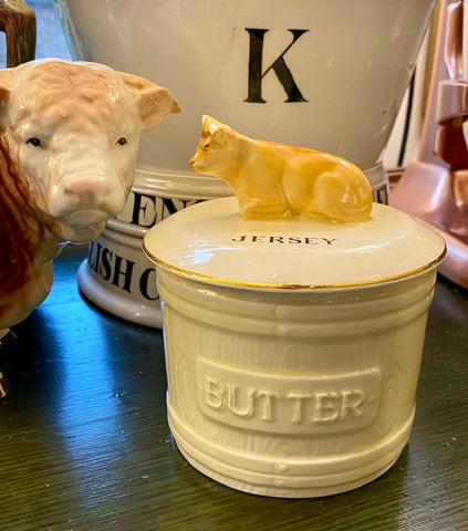 Vintage English JERSEY Cow Butter Tub Faux Bois Wood Barrel  Crown Devon