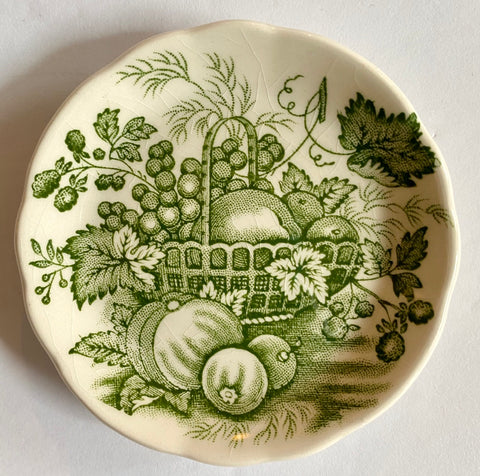 Green English Transferware Butter Pat Masons Harvest Fruits Basket