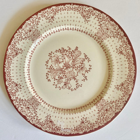 Red / Pink English Transferware Clarice Cliff Lace & Flowers Plate