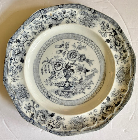 Antique Pearl Ware Chinoiserie Floral Mulberry Black Gray English Transferware Plate