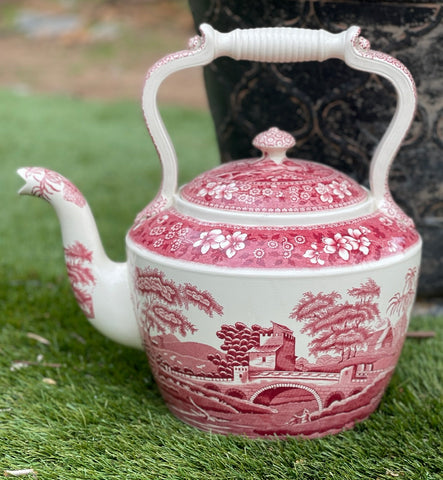 1930 Spode Copeland Pink Tower HUGE Teapot Red Transferware Tea Kettle