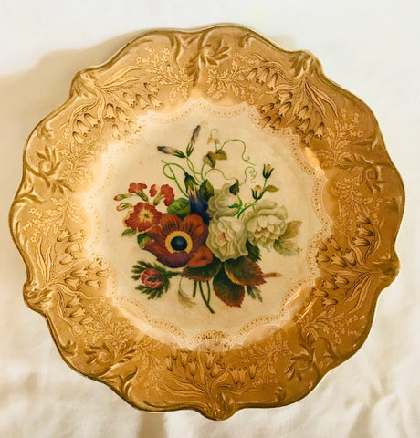 RARE Antique Prattware Gold Transferware Plate Country French Botanical Floral Bouquet Peonies Cornflower Phlox