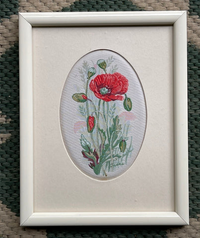 Vintage English Woven Silk Red Poppy Flowers Matted in Cream Frame